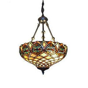 "Tiffany Style Baroque Hanging Lamp Stained Glass 16"" Shade Handcrafted"