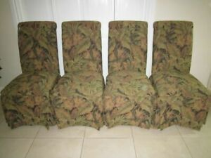Parsons Custom Dining Accent Side Chair Covered Fabric Skirt Scroll Top Set Of 4
