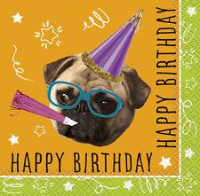 PUG PUPPY BIRTHDAY SMALL NAPKINS (16) ~ Party Supplies Serviettes Beverage Cake