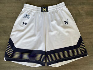Authentic Game Worn USNA Navy Midshipmen Lacrosse White Shorts Under Armour XL