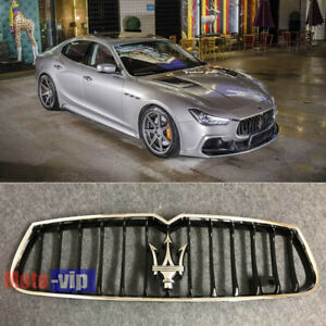 For Maserati Ghibli Chrome Black Front Bumper Grill 2014-2017 Upper Grille