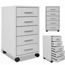 vidaXL Office Drawer Unit With Castors 5 Drawers White Cabinet Home Furniture