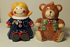 Ceramic Christmas Teddy Bear & Toy Doll Salt & Pepper Shaker Set