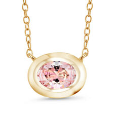 18K Yellow Gold Plated Silver Pendant Set with Morganite Zirconia from Swarovski