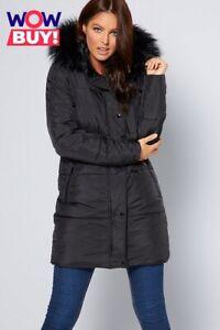 New Womens Studio Padded Midi Faux Fur Trim Black Coat Jacket Sz 10 (B1)