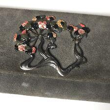 Sac de Soirée Daim Alain Fourdraine Style Art Nouveau Fleurs Email Vintage 1970