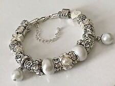 European Style Charm Bracelet with Antique Silver Beads Lobster Clasp+Stopper