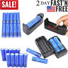 Lot Rechargeable 18650 Li-ion Battery 3000mAh 3.7V BRC & Charger for Flashlight