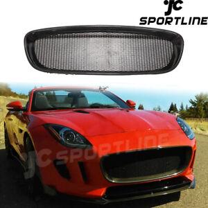 Fit For Jaguar F-type 13-16 Front Bumper Grill Grille Frame Trim Carbon Fiber