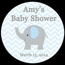 "30 Personalized Round Stickers - Blue Elephant Baby Shower  - 1.5"" Inches"