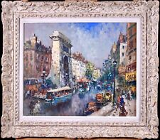 MERIO AMEGLIO (1897-1970) HUGE SIGNED FRENCH IMPRESSIONIST OIL PORTE SAINT DENIS
