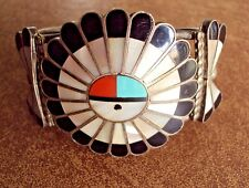 Old Zuni Sun Face Inlay Bracelet - Signed - Plus Attached Sun Maiden Charm