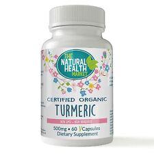 Certified Organic Turmeric 500mg 60 Capsules • Curcuma Longa • 100% NO Fillers
