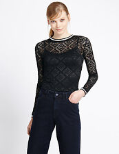 New M&S Limited Edition Ladies Black Stretch Lace Top UK 8 EUR 36