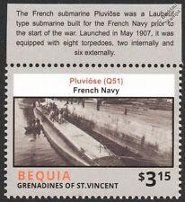 WWI Q51 Pluviôse-Class / Laubeuf-Type Submarine French Navy Warship Stamp