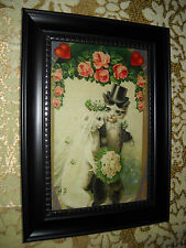 CATS GET MARRIED 4 X 6 black framed picture VICTORIAN style animal art print