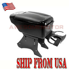 US Black Leather Center Console Armrest Storage Box w/Cup Holder Universal Fit