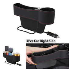 1Pcs PU Leather Car Seat Right Side Storage Box Organizer Pocket 2USB Cup Holder