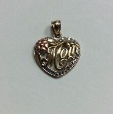 10K REAL MULTI-TONE GOLD Small Mom In Heart Symbol Design PENDANT 1.1g