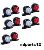 10 X 12V Rouge Blanc Petit LED Feux de Gabarit Camion Caravane Remorques
