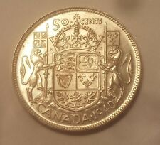 1940 Canada 50 Cents Coin (80% Silver) - King George VI