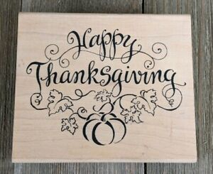 Happy Thanksgiving Pumpkin Rubber Stamp by Inkadinkado Lyn Dillin 97174