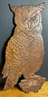 "Vintage Wood Owl Plaque Cape Craft Pine Carved 15"" long x 8"" wide"