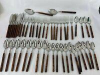 Rebacraft Reed & Barton Flatware Set Brown Bamboo Wood Cane Handle Stainless