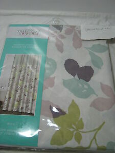 "New Traditions by Waverly ""Wind"" Fabric Shower Curtain Floral and Stripe 70x72"