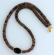 CUARZO AHUMADO Collar De Piedras Preciosas Lentes Único ca.43cm