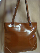 XOXO SHINY TAN HANDBAG - Square & Flat w/ Double Rolled Handles & Top Stitching