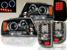 2004-2008 FORD F150 DUAL HALO LED PROJECTOR HEADLIGHTS + LED BLACK TAIL LIGHTS
