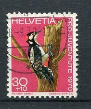 SUISSE - 1970, timbre 870, OISEAUX, PIC-EPEICHE, oblitéré