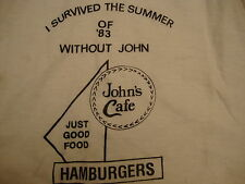 "Vintage John's Cafe Hamburger ""I Survived Summer of '83.."" Dallas 1983 T Shirt L"