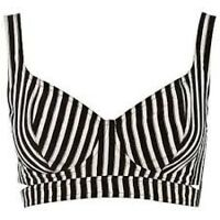 Rihanna for River Island Striped Bra Top Black White UK 6 8 BNWT Stripe Bralet
