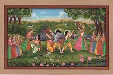 Krishna Radha Balarama Art Handmade Indian Miniature Religious Folk Painting