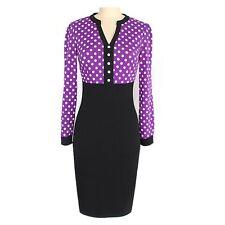 Casual Polka Dot Fitted Career Vintage Womens Ladies Dress UK Sz 6-18 Purple 8