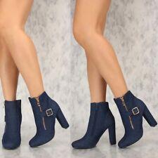 Women's Close Toe Dark Denim ankle boot Buckle Strap High Chunky Heel Booties H2