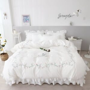 Embroidered Princess Lace Bedding Duvet Cover Bedsheet Bedclothes Home Textiles