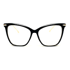 FEARLESS Women Eyeglasses CAT EYE Clear Lens Shadz Metal ARMS Glasses Oversized