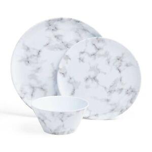 VonShef 12 Piece Marble Dining Set - Durable Melamine Dinner Set - Picnic Plates