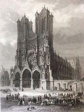 Cathédrale Notre Dame de Reims estampe XIXe France Rouargue 1853