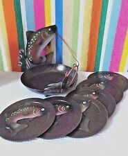 Fish,Drink Coasters,Fish Jumping Out of Water, Metal, Matching Base