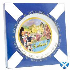 SCOTLAND Ceramic Display Plate & Stand 20cm Metallic Paint Historic SOUVENIR UK