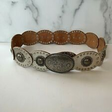 """Fossil Brand Boho SIlver Tone Leather Concho Belt Size S Women's 2.5"""" Wide DR3"""