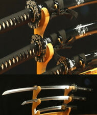T10 STEEL CLAY TEMPERED JAPANESE SAMURAI SWORD SET ( KATANA + WAKIZASHI +TANTO)