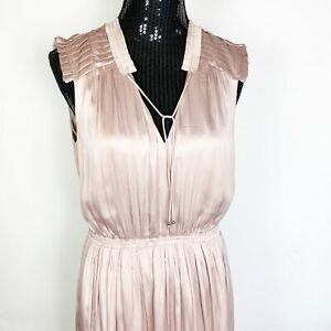H&M Dress Size 8 Pink Ruffle V Neck Elastic waist Midi Dress