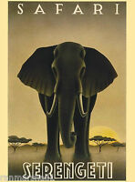Serengeti Safari Elephant Kenya Africa Vintage Travel Advertisement Art Poster