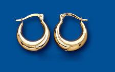 Gold Creole Earrings Yellow Gold Hoop Earrings Plain Gold Hoops 14mm Hallmarked