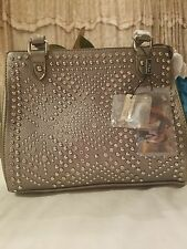 Montana West Pewter Purse Wiith Rhinestones & Studs Genuine & partial Leather